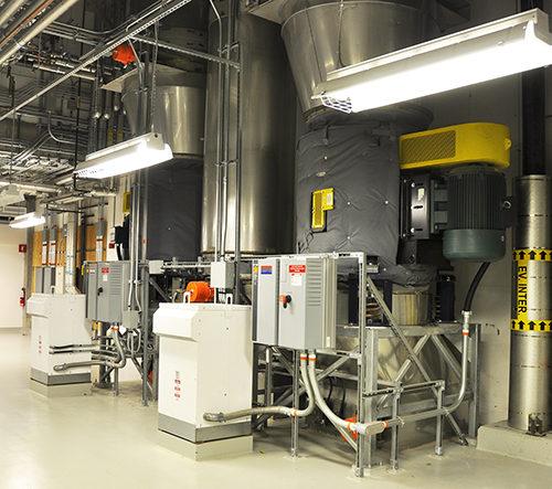 Interior of the energy centre Centre hospitalier de l'Université de Montréal
